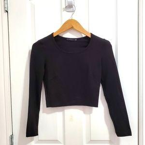 Talula Long Sleeve Black Crop Top